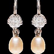 Platinum Diamond and Pearl Drop Earrings