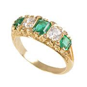 18 KT. Yellow Gold 5 Stone Ring with Emeralds and Old European Diamonds