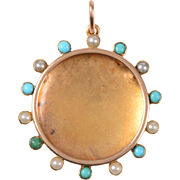 Antique English 15 KT. Rose Gold with Alternating Cabochon Turquoise & Seed Pearl and Crystal Locket