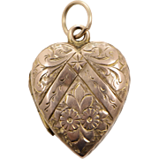 9 KT. Yellow Gold Antique  English Engraved Heart Locket