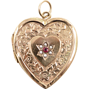 Antique English 9 KT. Rose Gold, Ruby and Seed Pearl Heart Shaped Locket