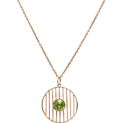 English 14 KT. Yellow Gold and Peridot Knife Wire Circle Necklace