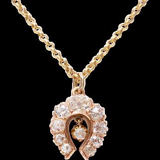 Antique Old Mine Diamond and 14 KT. Gold Horseshoe Necklace