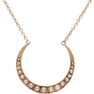 Yellow Gold Crescent and Seed Pearl Necklace