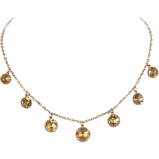Victorian 9 KT Yellow Gold with 7 Round Cut Citrine Fringe Necklace