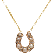14 KT. Yellow Gold, Pearl and Diamond Horseshoe Necklace