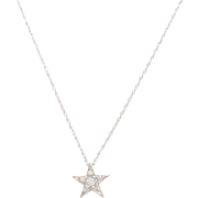Vintage 14 KT. White Gold and Diamond Star Necklace