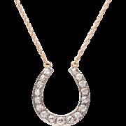 Old European Diamond Horseshoe Necklace set in 14 KT. Gold