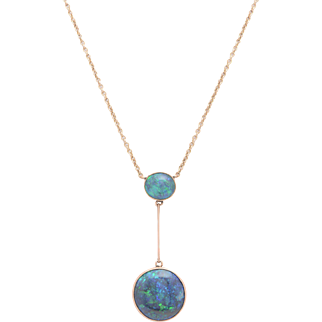 Edwardian Double Black Opal Necklace set in 9 KT. English Rose Gold