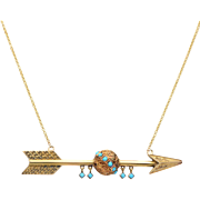 14 KT. Yellow Gold and Cabochon Turquoise  Arrow Necklace