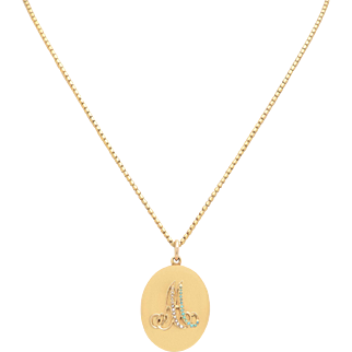 Victorian 18 KT. Yellow Gold Oval Locket with Seed Pearls and Turquoise
