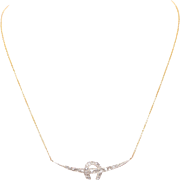 Old European Diamond Crescent and Horseshoe Necklace