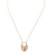 English Engraved 9 KT. Rosy Yellow Gold Heart Padlock Necklace