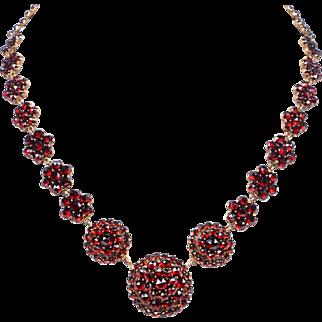 Antique Bohemian Garnet Cluster Choker / Necklace
