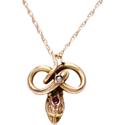 Antique 14 KT. Yellow Gold Snake Head with Split Pearl and Ruby Detail  Necklace
