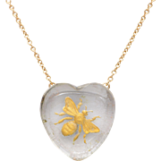 Heart Shaped Rock Crystal 14 KT. Yellow Gold Bee Necklace