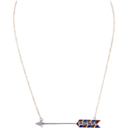14 KT. Yellow Gold, Enamel and Rose cut Diamond Arrow Necklace