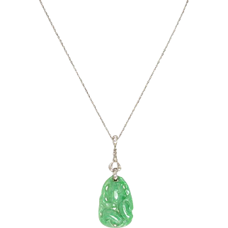 Vintage Carved Jade Gourd Necklace with a 14 KT. White Gold and Diamond Mounting