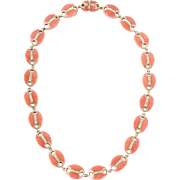 18 KT. Yellow Gold Coral and Diamond Collar Necklace