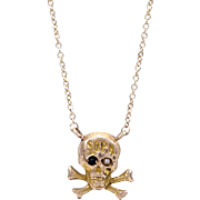 14 KT. Yellow Gold Skull & Bones Necklace with a Pear and a Black Onyx Eye