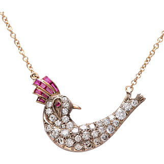 14 KT. Yellow Gold Diamond and Ruby Sitting Bird Necklace