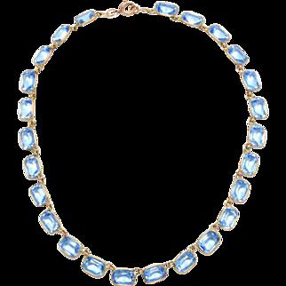 Antique Emerald Cut Blue Glass Collet set Necklace