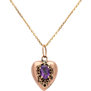9 KT. Rose Gold Victorian Amethyst Puffed Heart Necklace