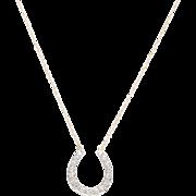 14 KT. Yellow Gold & Old European Diamond Horseshoe Necklace