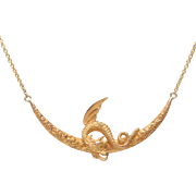 14 KT. Yellow Gold Griffin on a Crescent Moon Necklace