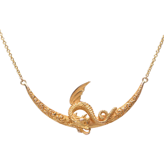 Antique 14 KT. Yellow Gold Griffin on a Crescent Moon Necklace
