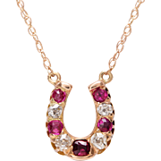 14 KT. Yellow Gold, Old Mine Diamond and Old European Cut Ruby Horseshoe Necklace