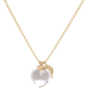 Rock Crystal Heart with 14 KT. Yellow Gold Charms Necklace