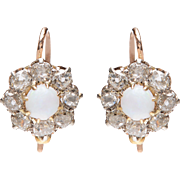 Victorian Opal and Old Euro Diamond Cluster Earrings set in Silver over 9 KT. Gold