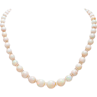 Opal Beads and Faceted Crystal Spacers Necklace