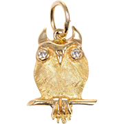 14 KT. Yellow Gold & Diamond Owl Pendant