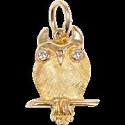 14 KT. Yellow Gold & Diamond Owl Pendant