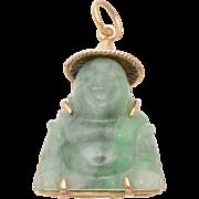 14 KT Yellow Gold & Carved Jade Buddha Pendant