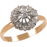 14 KT. Yellow Gold and Old European Diamond Cluster Ring