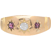 Polished 18 KT. Rosy Yellow Gold, Ruby and Diamond Gypsy Ring