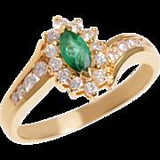 18 KT. Yellow Gold Marquis Emerald and Diamond Swirl Ring
