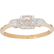 18 KT. Yellow Gold and Old European Diamond Ring