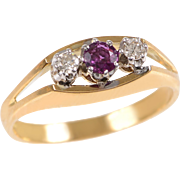 18 KT. Yellow Gold and Platinum Ruby and Diamond 3 Stone Ring