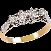 18 KT. Yellow Gold, Platinum and Diamond Ring
