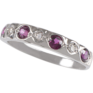 Vintage 18 KT. White Gold, Ruby and Diamond Band