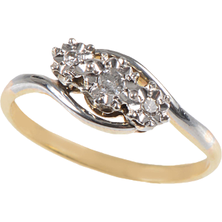 3 Stone Diamond Ring Set in Platinum with 18 KT. Yellow Gold Shank