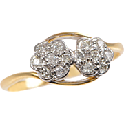 18 KT. Yellow Gold, Platinum and Diamond Moi and Toi Ring