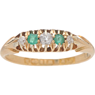 Antique English 18 KT. Yellow Gold Emerald and Diamond 5 Stone Ring