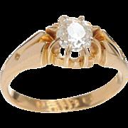 Belcher set Old Mine Diamond set in 18 KT.Yellow Gold Ring