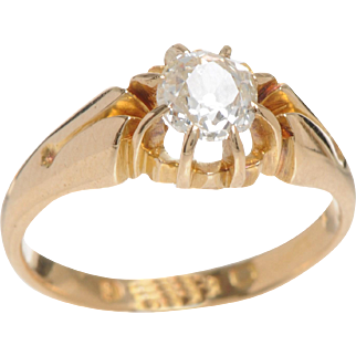 Belcher set Old Mine Diamond set in 18 KT.Yellow Gold Ring