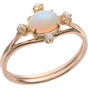14 KT Rose Gold & Oval Cabochon Opal and Rose cut Diamond Ring